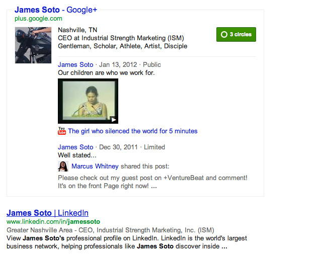G+ Profile displaying in Search Results