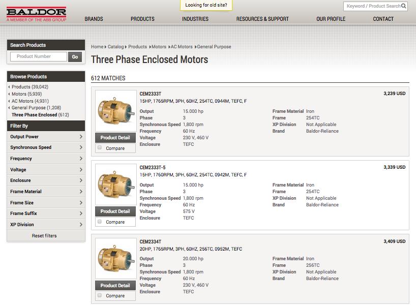 A screenshot of Baldor's website. Baldor is a motor manufacturer that shows industrial pricing online.
