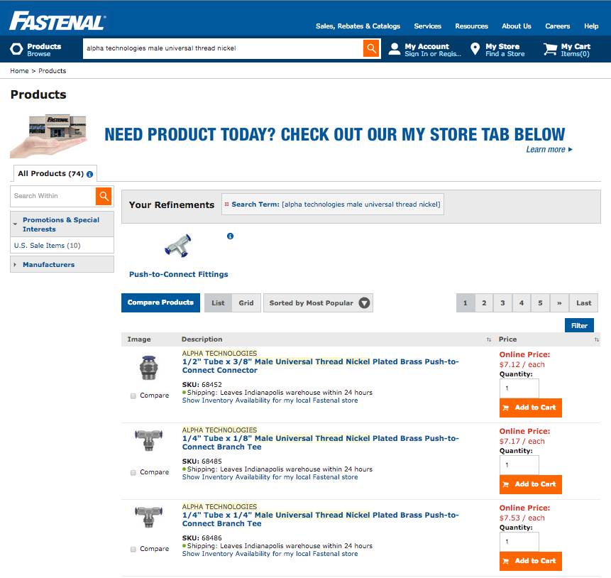 Fastenal makes it easy to compare products by industrial pricing and specifications on its website.