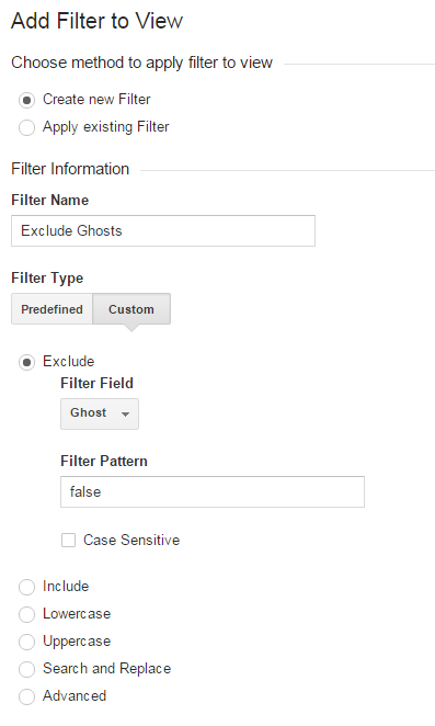 Ghost Traffic Filter Settings