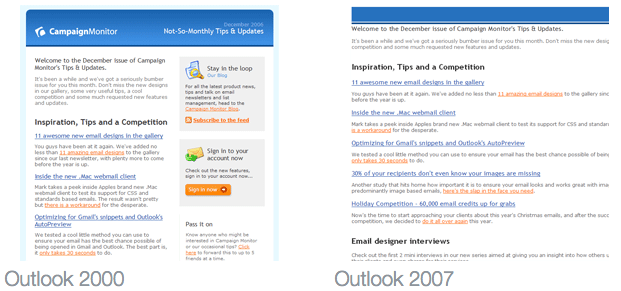 Outlook Email Rendering Comparison