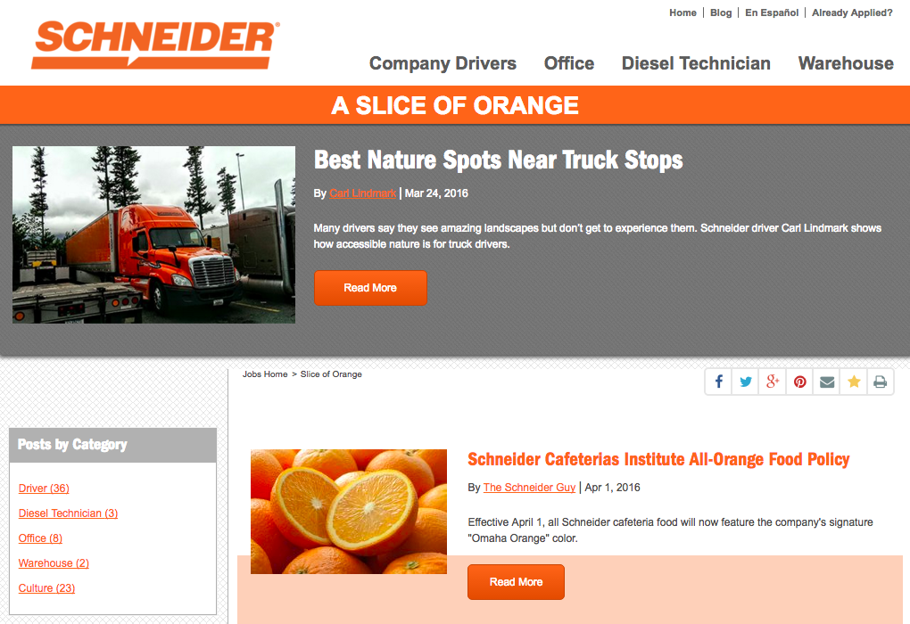 Schneider Truck Driver Recruting Blog