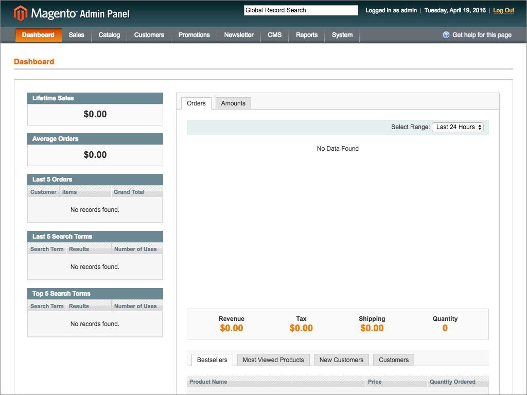 Magento E-Commerce Platform Admin